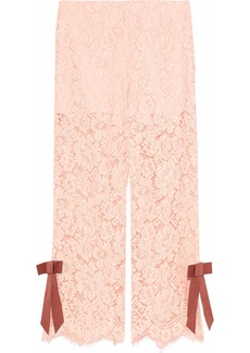 Ganni Woman Cropped Bow-embellished Corded Lace Wide-leg Pants Pastel Pink
