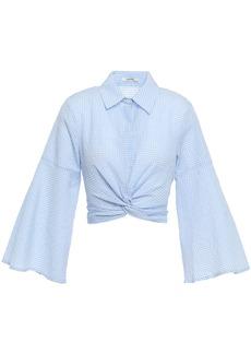Ganni Woman Cropped Twist-front Gingham Cotton-blend Seersucker Shirt Light Blue