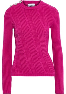 Ganni Woman Crystal-embellished Cable-knit Cotton-blend Sweater Fuchsia