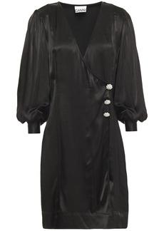 Ganni Woman Crystal-embellished Satin Mini Wrap Dress Black