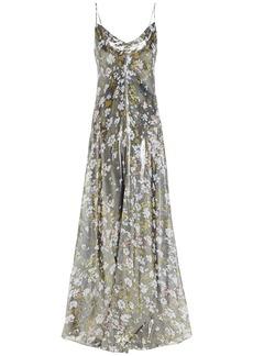 Ganni Woman Cutout Floral-print Silk-blend Lamé Maxi Slip Dress Gunmetal
