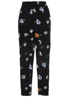 Ganni Woman Dainty Floral-print Georgette Tapered Pants Black
