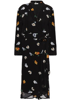 Ganni Woman Dainty Floral-print Georgette Wrap Dress Black