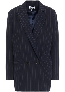 Ganni Woman Double-breasted Pinstriped Woven Blazer Midnight Blue