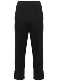 Ganni Woman Dubois Striped Piqué Straight-leg Pants Black