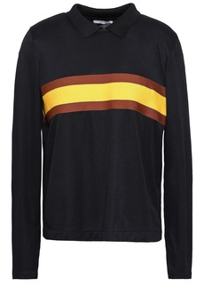 Ganni Woman Dubois Striped Stretch-knit Polo Shirt Black