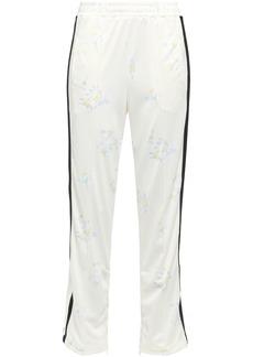 Ganni Woman Egret Floral-print Piqué Track Pants Ecru