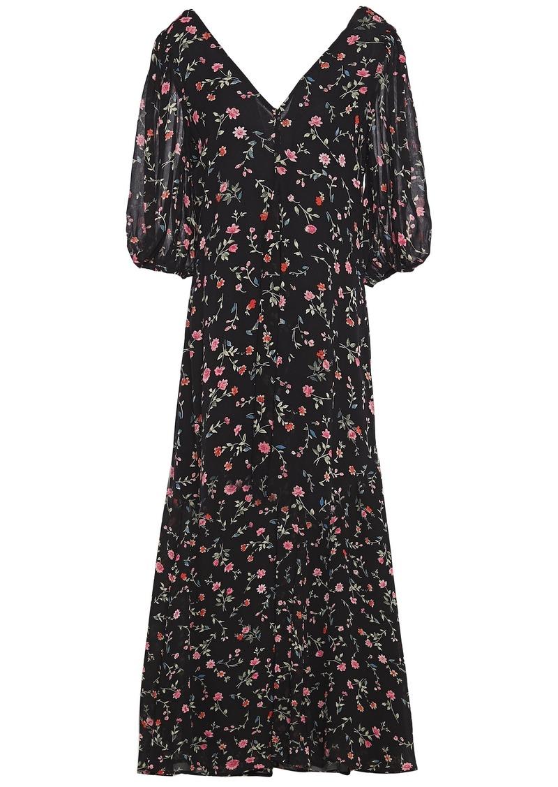 Ganni Woman Elm Floral-print Georgette Midi Dress Black