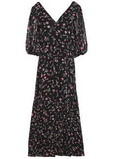 Ganni Woman Elm Floral-print Georgette Midi Dress Black