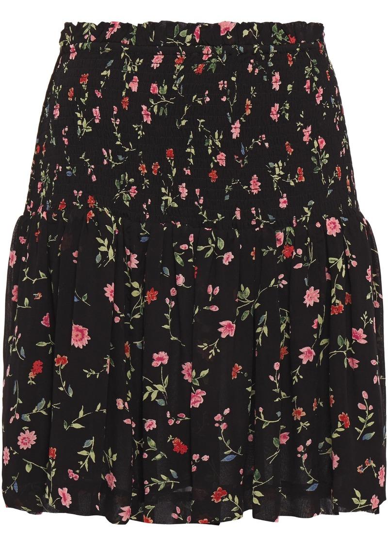 Ganni Woman Elm Shirred Floral-print Georgette Mini Skirt Black