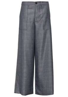 Ganni Woman Embellished Prince Of Wales Checked Silk And Wool-blend Wide-leg Pants Dark Gray
