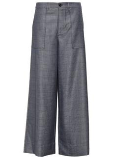 Ganni Woman Prince Of Wales Embellished Silk And Wool-blend Wide-leg Pants Dark Gray