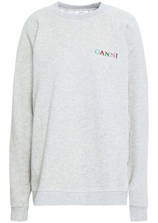 Ganni Woman Embroidered Mélange French Cotton-terry Sweatshirt Light Gray