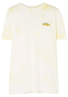 Ganni Woman Embroidered Tie-dyed Cotton-jersey T-shirt Ivory