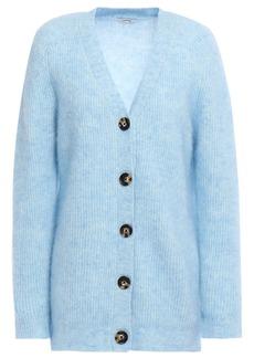 Ganni Woman Evangelista Brushed-knit Cardigan Light Blue
