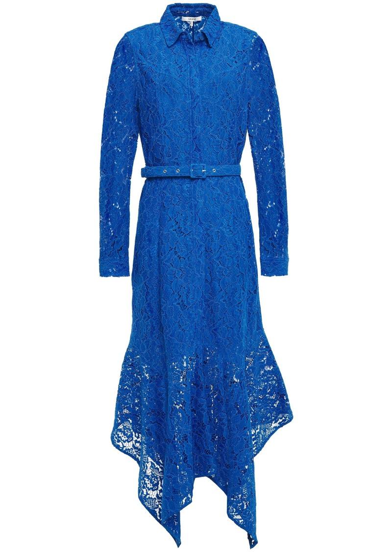 Ganni Woman Everdale Asymmetric Belted Corded Lace Midi Dress Cobalt Blue