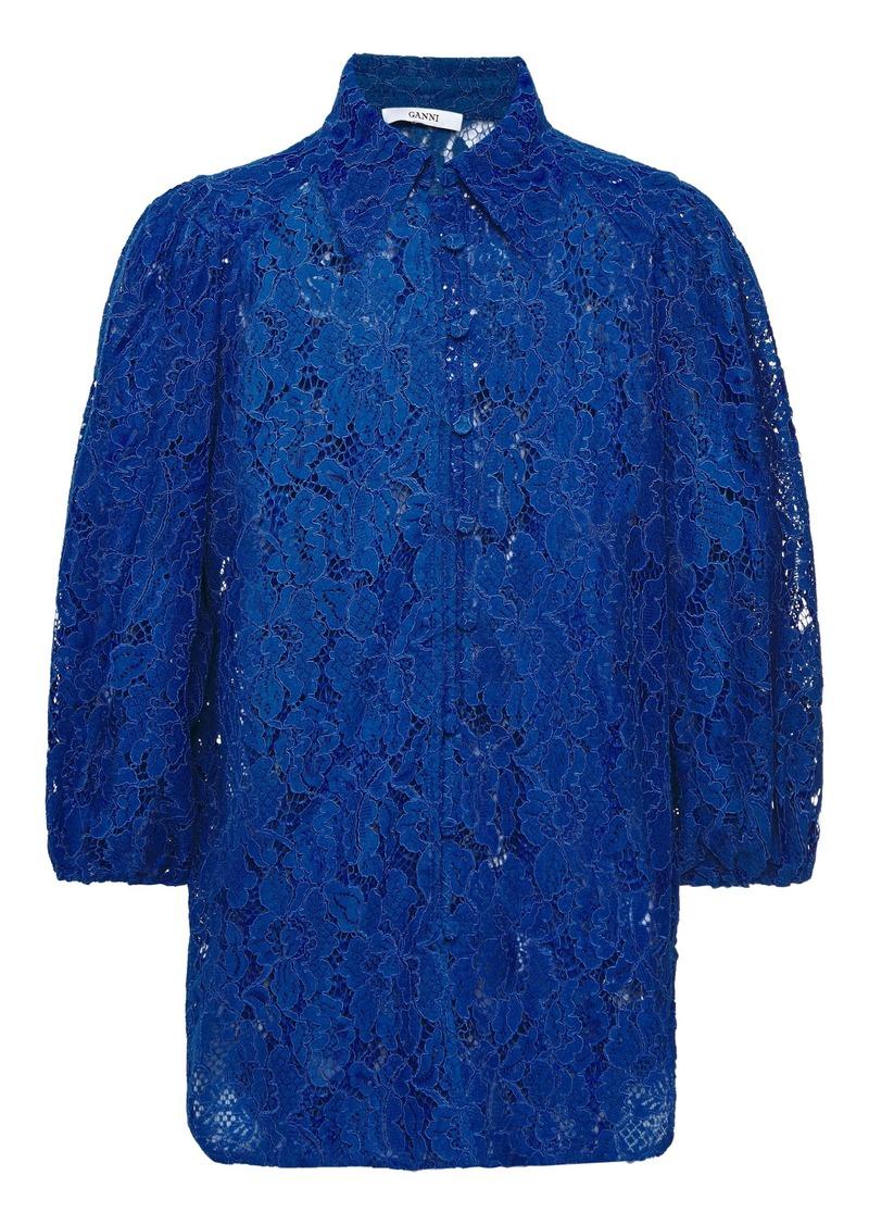 Ganni Woman Everdale Corded Lace Shirt Cobalt Blue