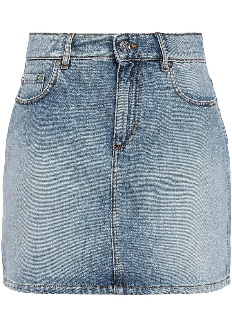 Ganni Woman Faded Denim Mini Skirt Light Denim