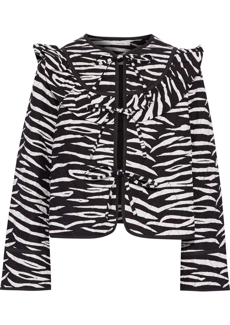 Ganni Woman Faulkner Zebra-print Quilted Cotton Jacket Black