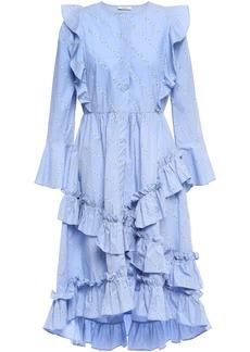 Ganni Woman Faulkner Ruffled Floral-print Cotton-poplin Dress Light Blue