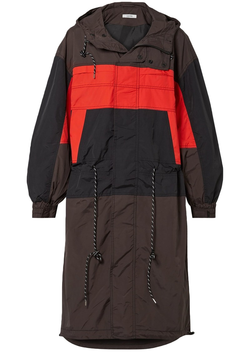 Ganni Woman Faust Color-block Shell Hooded Jacket Dark Brown
