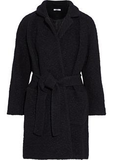 Ganni Woman Fenn Belted Wool-blend Bouclé Coat Black