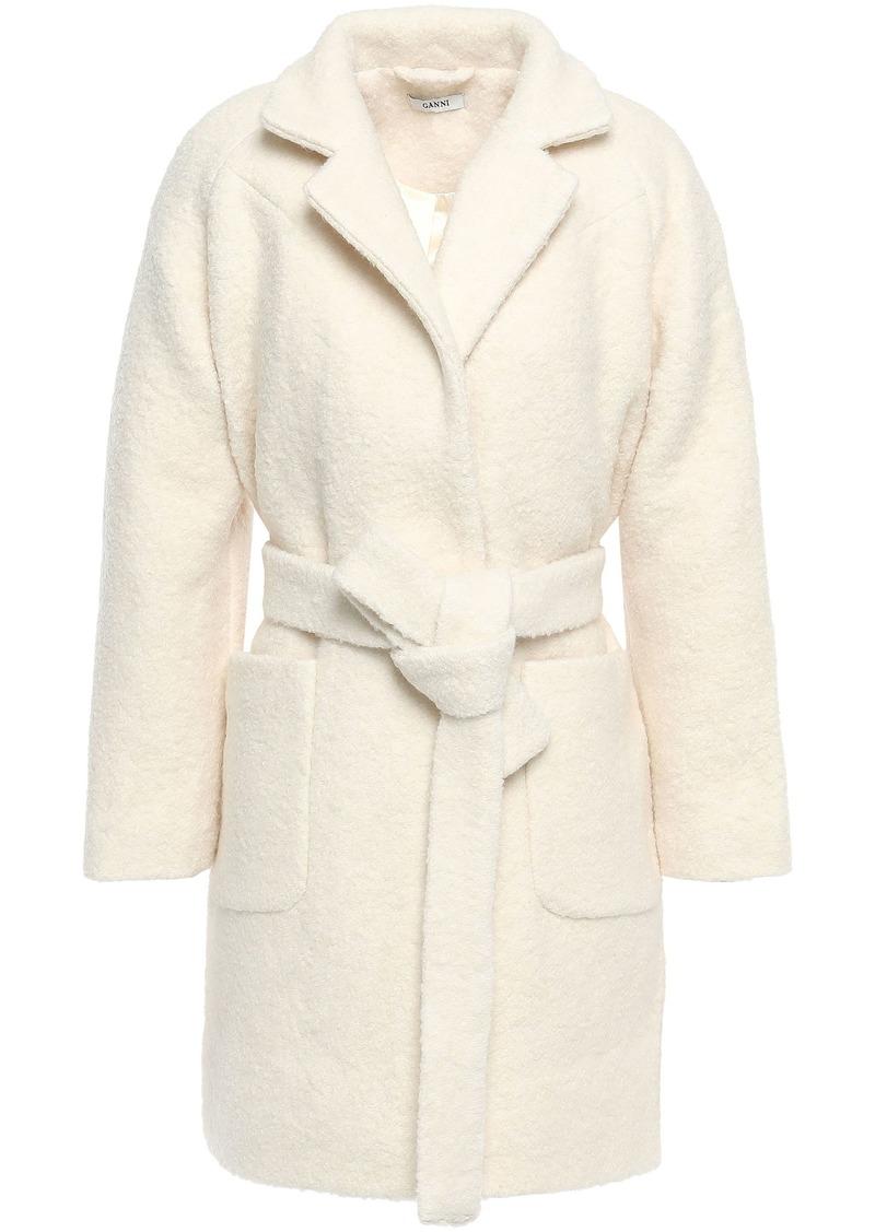 Ganni Woman Fenn Belted Wool-blend Bouclé  Coat Cream