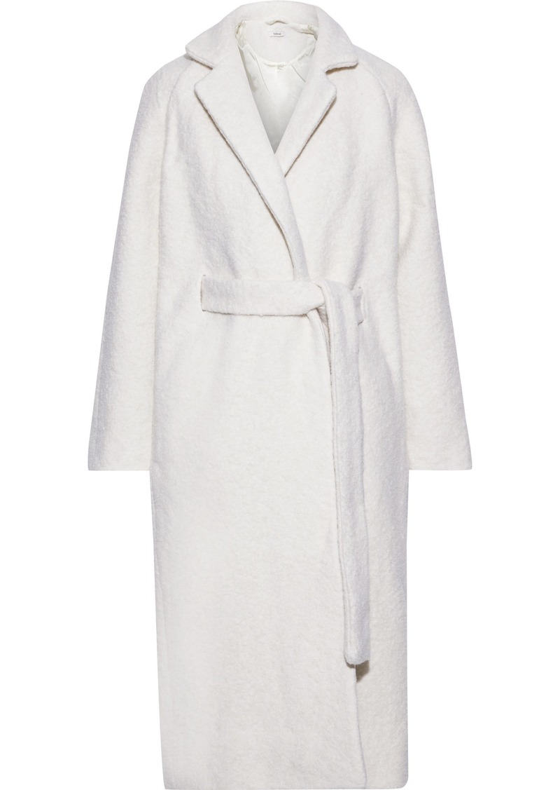 Ganni Woman Fenn Bouclé Wool-blend Coat Ecru