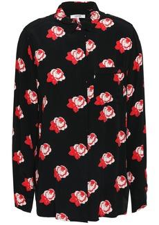 Ganni Woman Floral-print Crepe Shirt Black