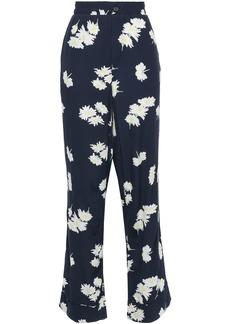 Ganni Woman Floral-print Crepe Straight-leg Pants Navy