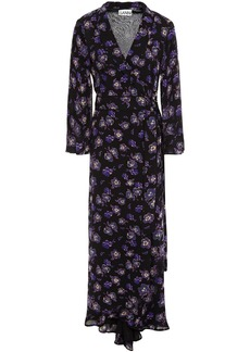 Ganni Woman Floral-print Georgette Maxi Wrap Dress Black