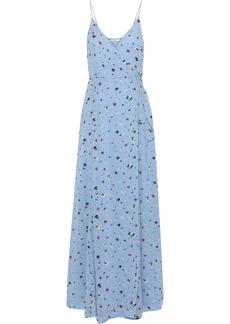 Ganni Woman Floral-print Georgette Maxi Wrap Dress Light Blue