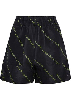 Ganni Woman Floral-print Linen And Silk-blend Shorts Black