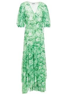 Ganni Woman Floral-print Mesh Midi Wrap Dress Green