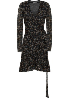 Ganni Woman Floral-print Mesh Mini Wrap Dress Black