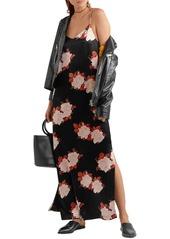 Ganni Woman Floral-print Satin Maxi Slip Dress Black