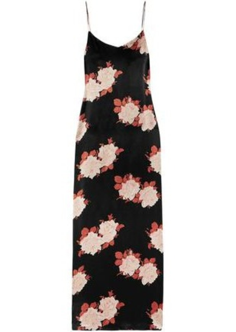 Ganni Woman Floral-print Satin Maxi Slip Dress Black