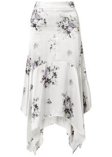 Ganni Woman Floral-print Satin Midi Skirt Off-white