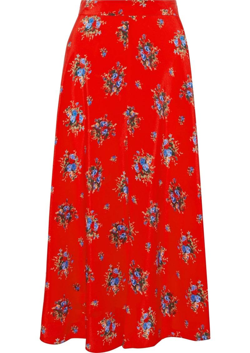 Ganni Woman Floral-print Silk Crepe De Chine Midi Skirt Red