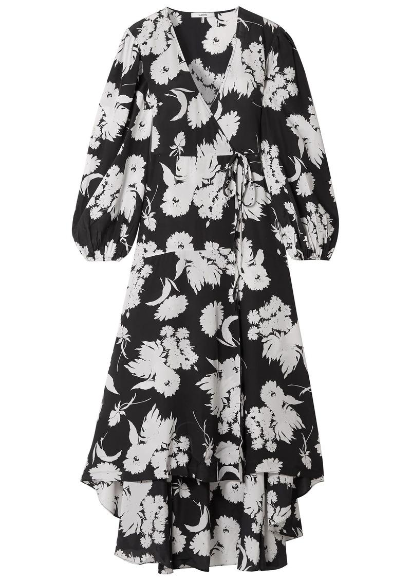 Ganni Woman Kochhar Floral-print Silk Crepe De Chine Maxi Wrap Dress Black