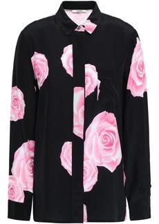 Ganni Woman Floral-print Silk Crepe De Chine Shirt Black