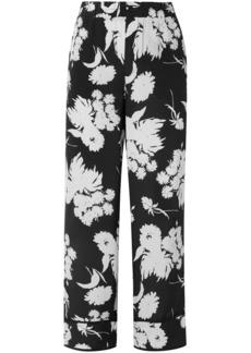 Ganni Woman Floral-print Silk Crepe De Chine Straight-leg Pants Black