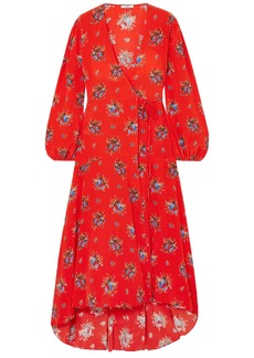 Ganni Woman Kochhar Floral-print Silk Crepe De Chine Maxi Wrap Dress Red