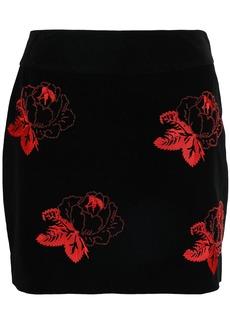 Ganni Woman Floral-print Velvet Mini Skirt Black