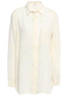 Ganni Woman Floral-print Washed-silk Shirt Ecru