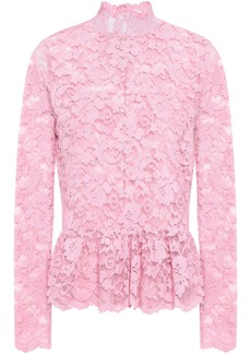 Ganni Woman Flynn Lace Peplum Top Pink