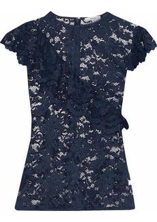 Ganni Woman Flynn Ruffle-trimmed Lace Top Navy