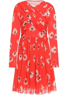 Ganni Woman Gathered Floral-print Mesh Dress Tomato Red