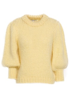 Ganni Woman Gathered Mohair And Wool-blend Sweater Pastel Yellow