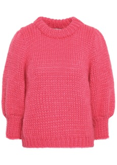 Ganni Woman Julliard Mohair And Wool-blend Sweater Pink